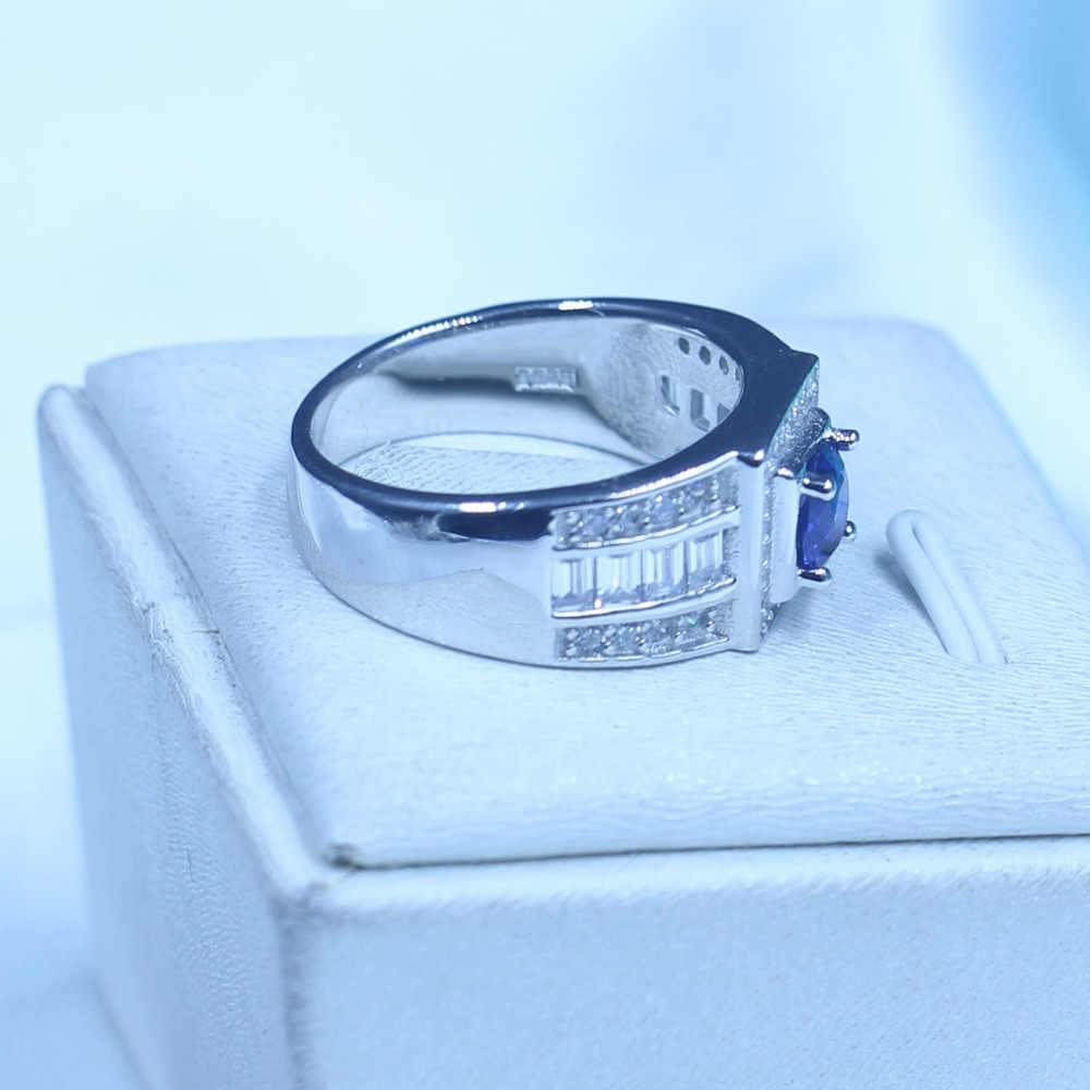 จริงชายเครื่องประดับSoild 925หญิงแหวน1ctเกิด5AเพทายหินAAA Czพรรคแต่งงานแหวนสำหรับผู้ชาย