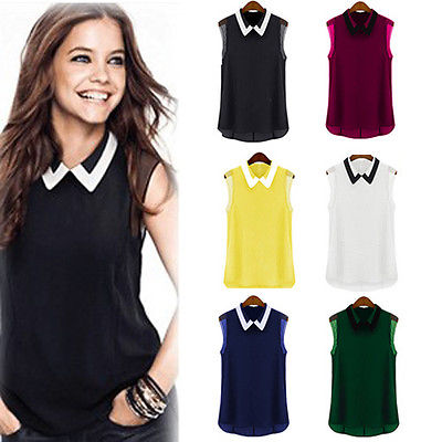 Women Summer Loose Casual Chiffon Sleeveless Vest Shirt Tops Blouse European Style Tank Top