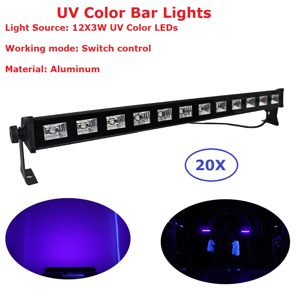 20Pcs/Lot LED Wall Washer Light UV Single Color 12X3W Aluminum Shell LED Bar Lights Mini Size Perfect For Small Concert Dj