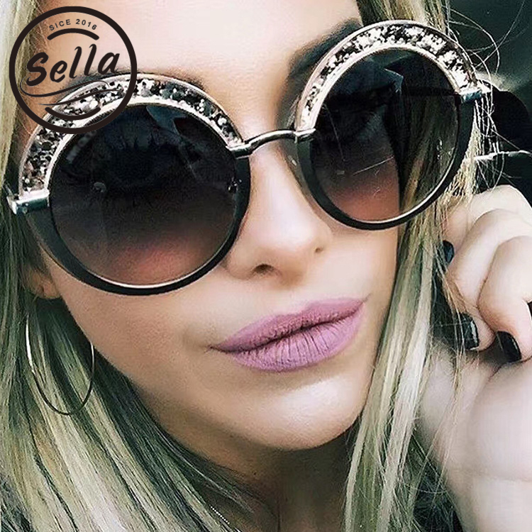 New Personality Fashion Ladies Round Sunglasses Oversized Women Colorful Shining Frame Gradient Sun Glasses Brand Desinger
