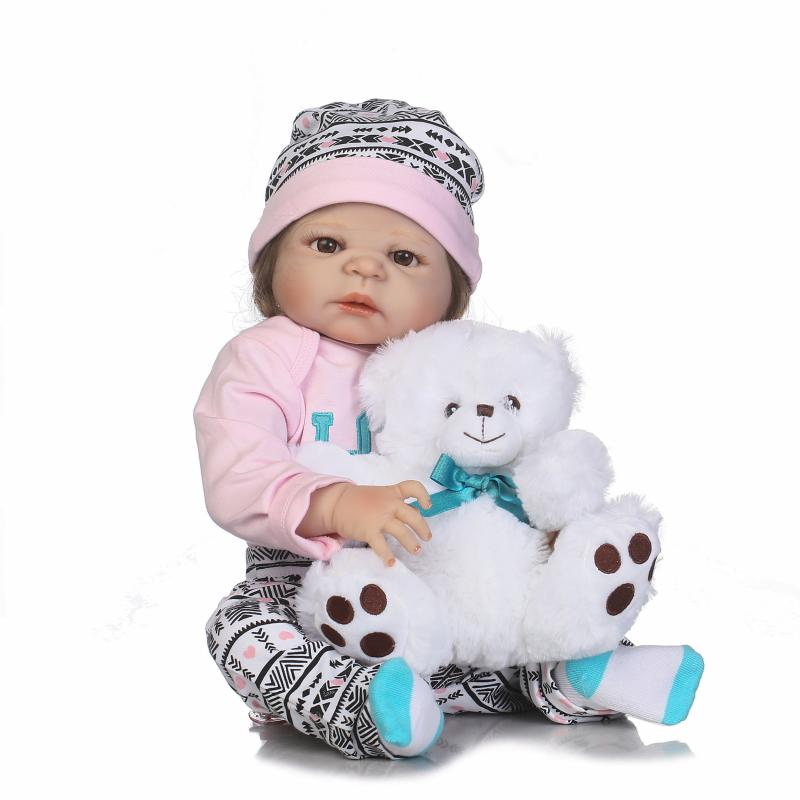 22'' Soft Silicone Reborn girl Doll 57 cm whole vinyl body Baby Lifelike Born dolls Toys For Girls Boneca Completa Kids Playmate keiumi 23 babies girl reborn baby doll full body silicone vinyl realistic 57 cm princess new born boneca reborn boneca gifts