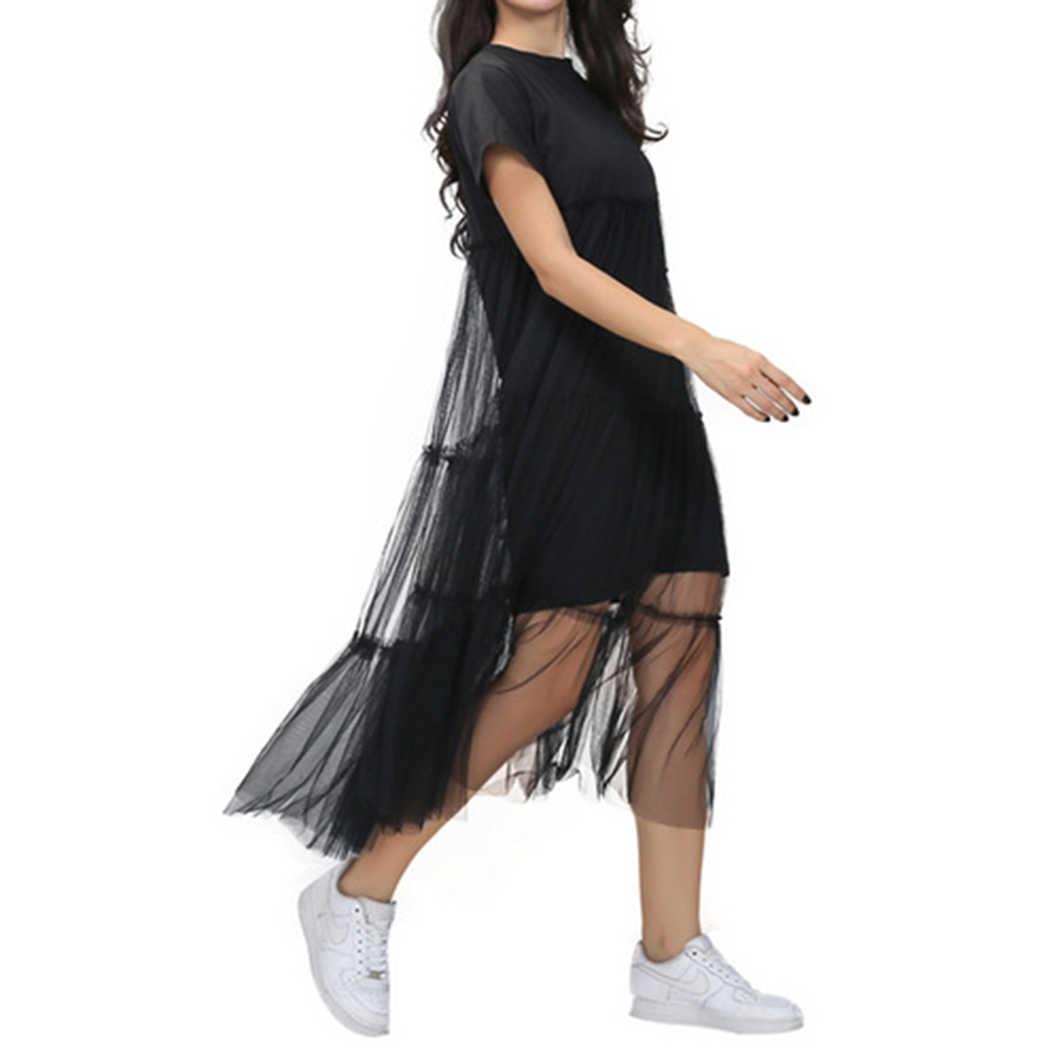 Summer Korean Splicing Pleated Dress Women Mesh Black Color 2018 Tulle  Short Sleeve T Shirt Dresses dbaa34c5f7c0