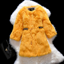 EMS Free shipping 2014 new Luxury Rabbit Fur Coat Jacket  Ladies Fur Outerwear plus size  Women's real rabbit fur Overcoat