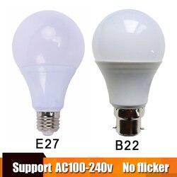 مصباح طاقة حقيقي LED E27 مصباح LED أمبولة بومبيلا 3 واط 5 واط 7 واط 9 واط 12 واط 15 واط B22 LED مصباح 220 فولت الباردة/الدافئة الأبيض Led الأضواء