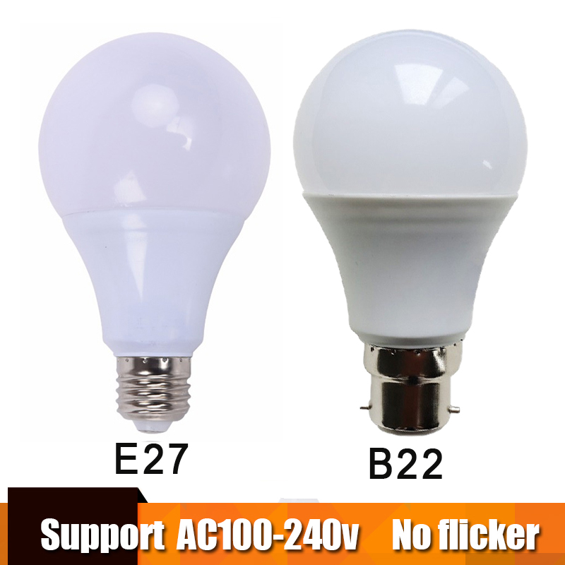 Real Power LED Bulb E27 LED Lampada Ampoule Bombilla 3W 5W 7W 9W 12W 15W B22 LED Lamp 220V Cold/Warm White Led Spotlight