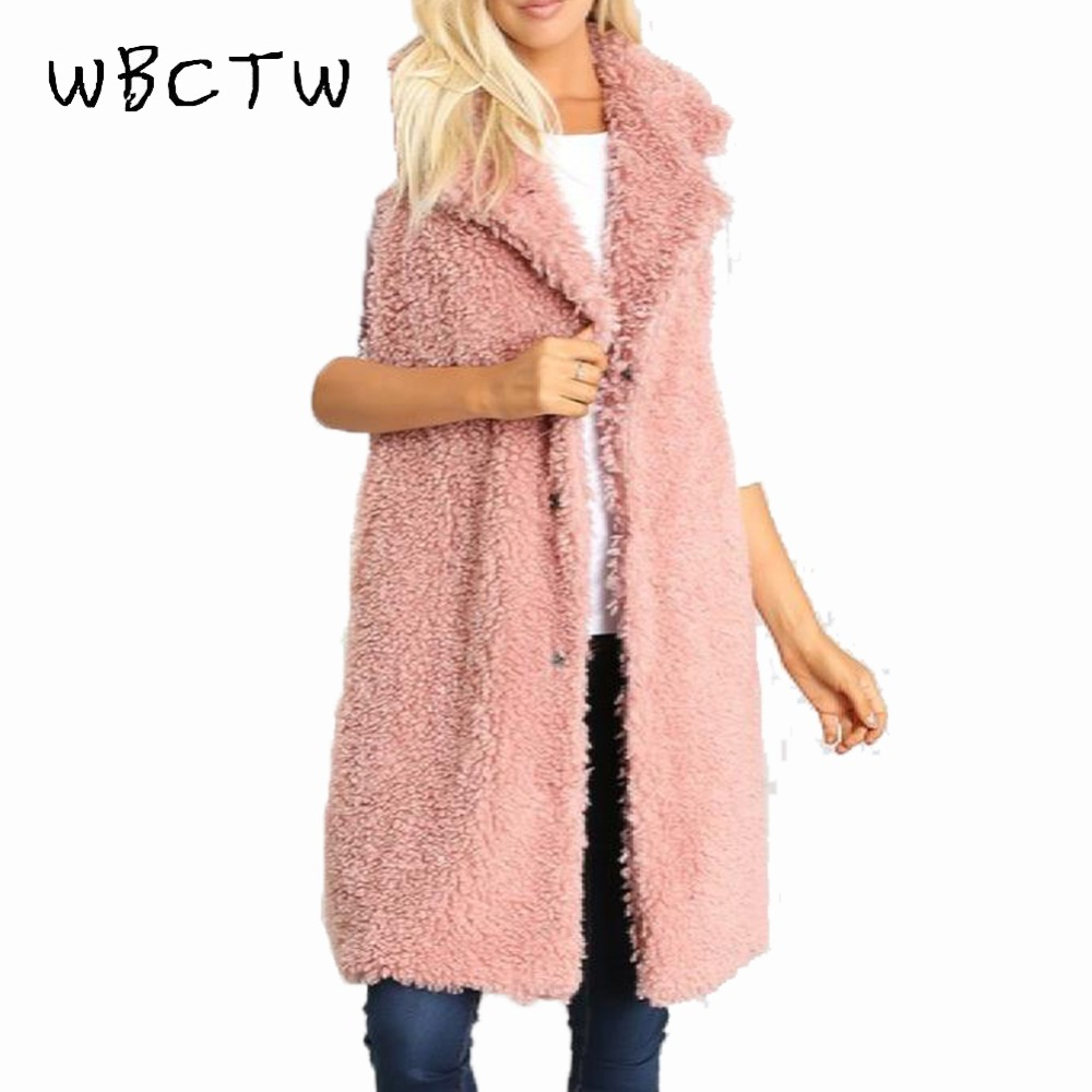 WBCTW Frauen Weste 9XL 10XL Plus Größe Solide Rosa Lange Winter Weste Warme 2018 Mode Teddy Ärmellose Jacke