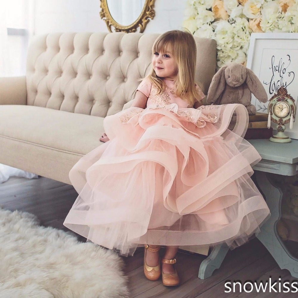 2017 blush pink baby girl dress with lace appliques ruffle tulle toddler pageant party dress with bow 1st birthday party outfits baby girl 1st birthday outfits short sleeve infant clothing sets lace romper dress headband shoe toddler tutu set baby s clothes