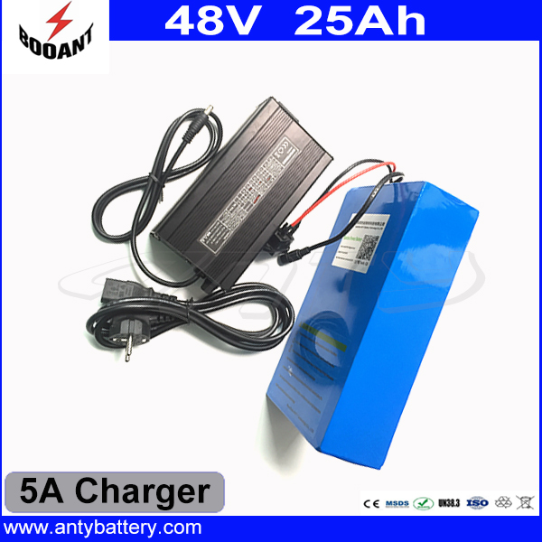 US EU Free Customs Duty High Power 1000W eBike Battery 48V 25Ah 18650 Cell With 5A Charger 30A BMS 48V Lithium Battery Pack eu us free customs duty 48v 550w e bike battery 48v 15ah lithium ion battery pack with 2a charger electric bicycle battery 48v