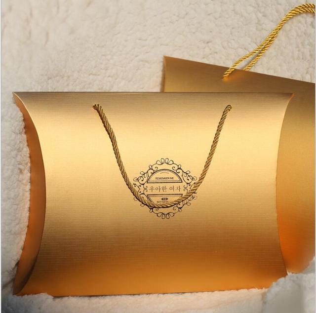 Таможня печать логотипа девственные волосы пучок Подушка коробка упаковка золотые парики упаковка подарочная коробка