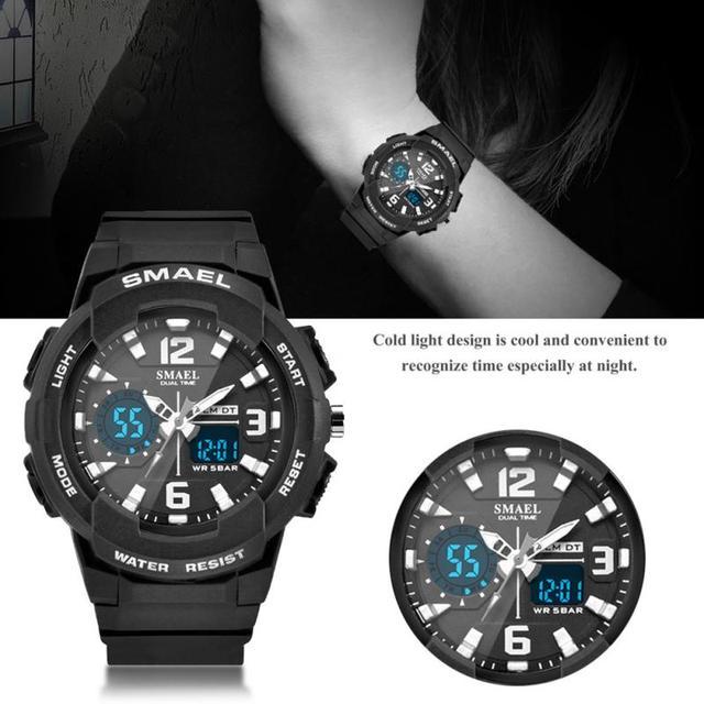 4 Colors Men Women SMAEL Waterproof Digital Analog Dual Display Watch Round Elec