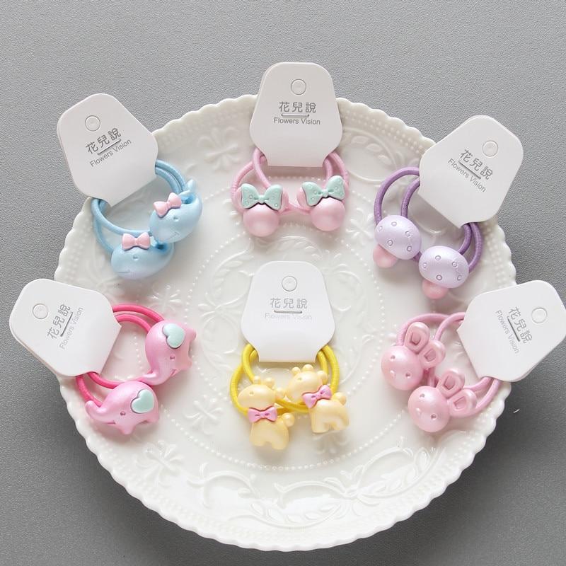 2PCS Cartoon Animal Mushroom Princess Headwear Kids Elastic Hair Bands Baby Headdress Children Hair Ropes Girls Hair Accessories