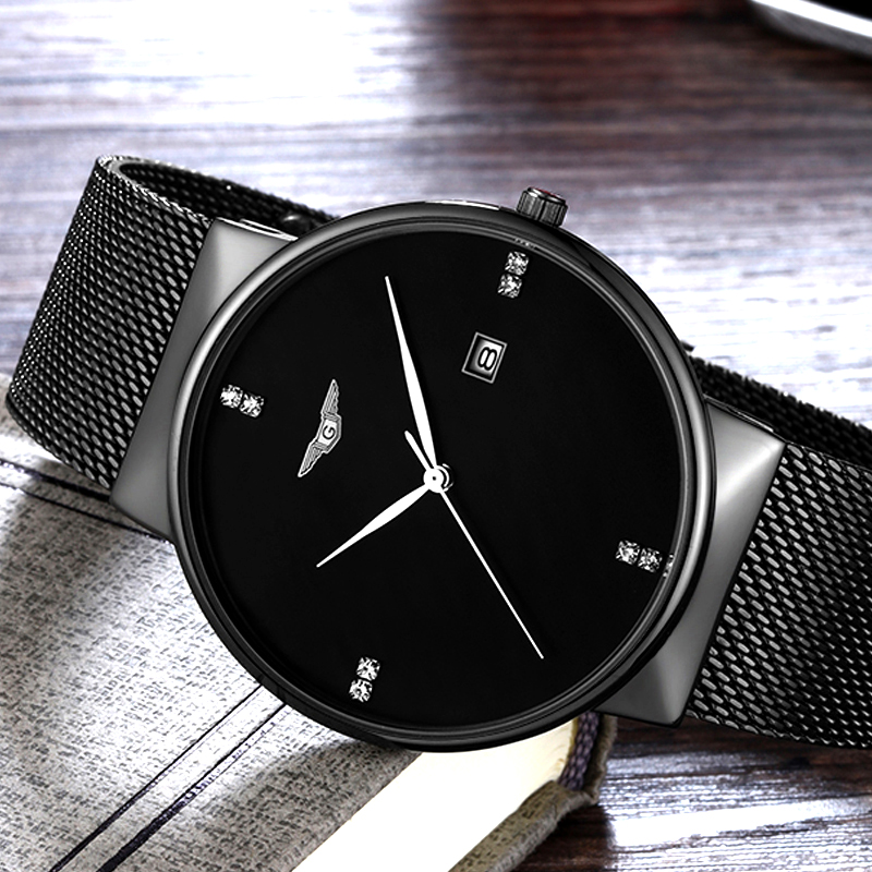 цена на relogio masculino GUANQIN Mens Watches Top Brand Luxury Simple Design Mesh Band Quartz Watch Fashion Men Full Steel Wristwatch