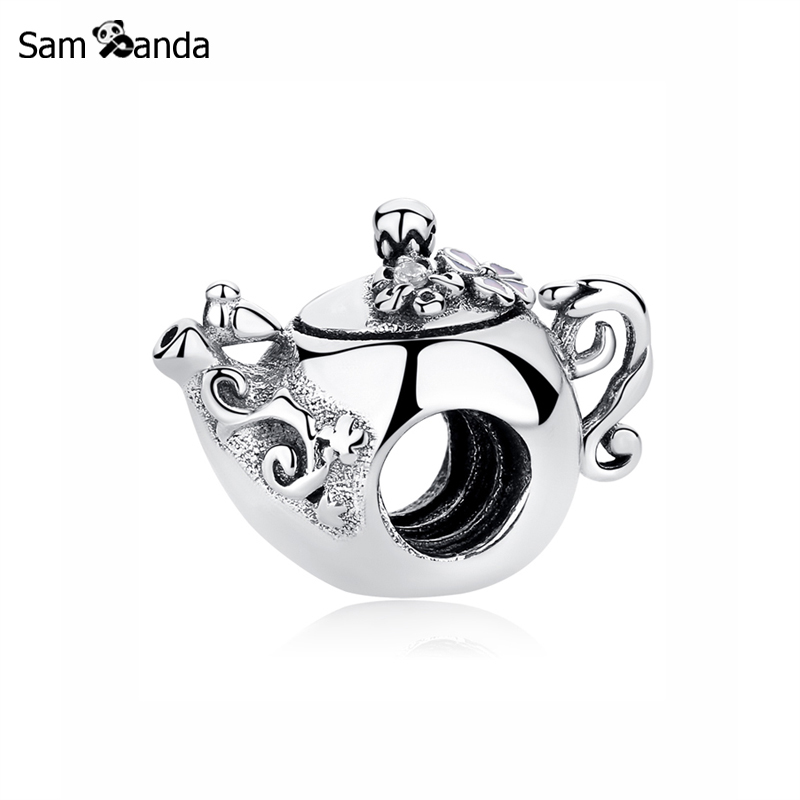 dd2b57c52 New Original 100% 925 Sterling Silver Bead Charm Enchanted Teapot Charms  Afternoon Tea Fit Pandora Bracelets Women Diy Jewelry