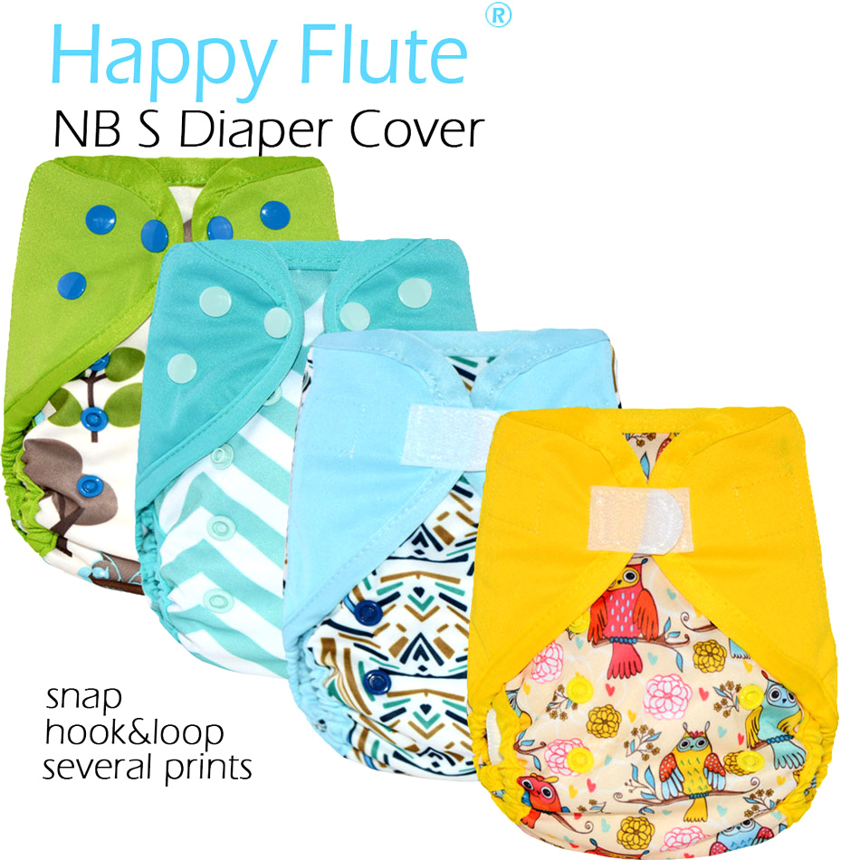 Happy flute NEWBORN diaper cover,double leaking guards, waterproof and breathable, fit 0-3 months baby,without inserts