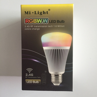 MiLight 2.4G Smart Bulb Wireless E27 8W RGB+Color temperature changing 85 265V Dimmable RGBWW LED Lighting Lamp