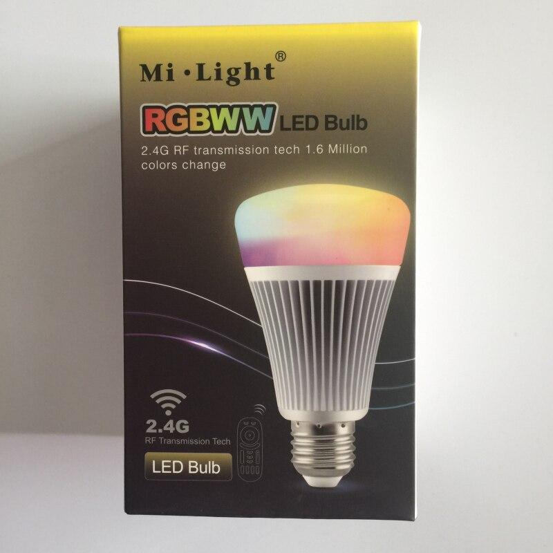 MiLight 2.4G ampoule intelligente sans fil E27 8 W RGB + changement de température de couleur 85-265 V Dimmable RGBWW lampe d'éclairage LED