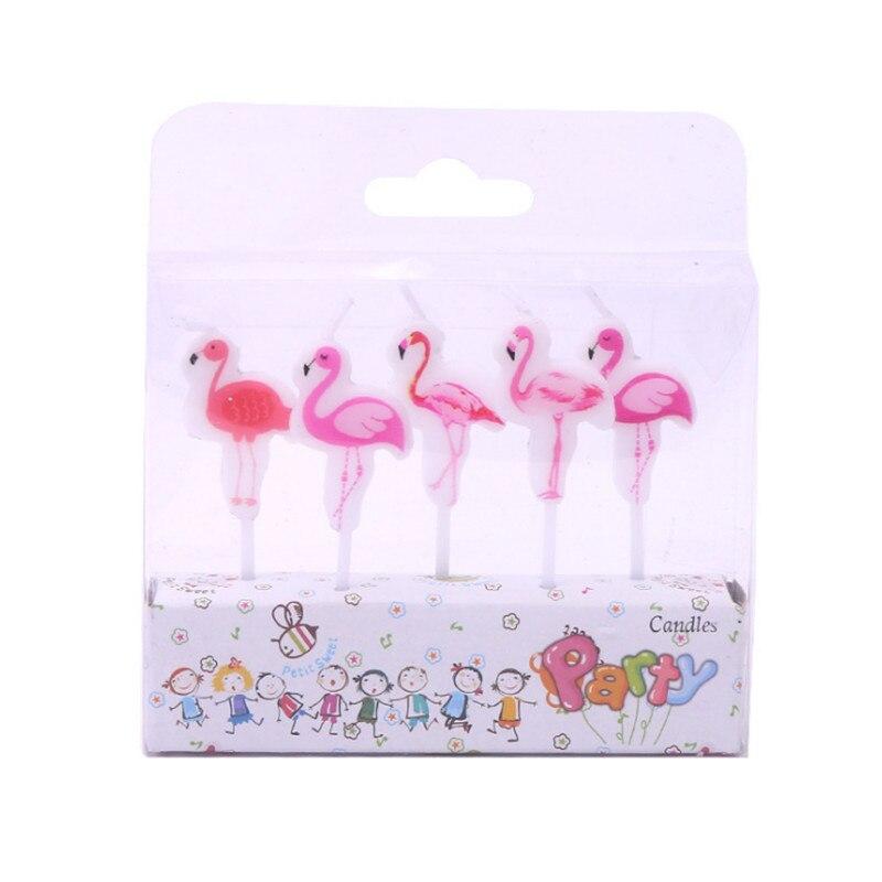 5pcs//lot Flamingo Candles Cake Topper Unicorn Cake Candles Birthday Party Decor