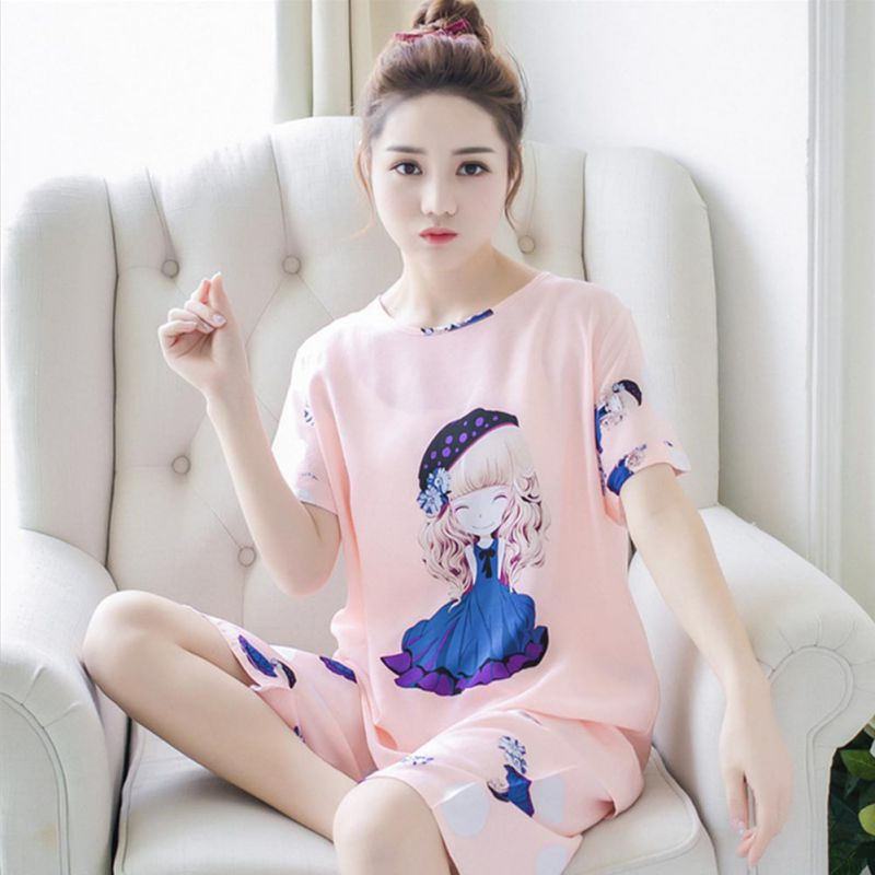 Summer Pajamas for Women Lovely Cute Girl Thin Short Sleepwear Suit Female Home Set