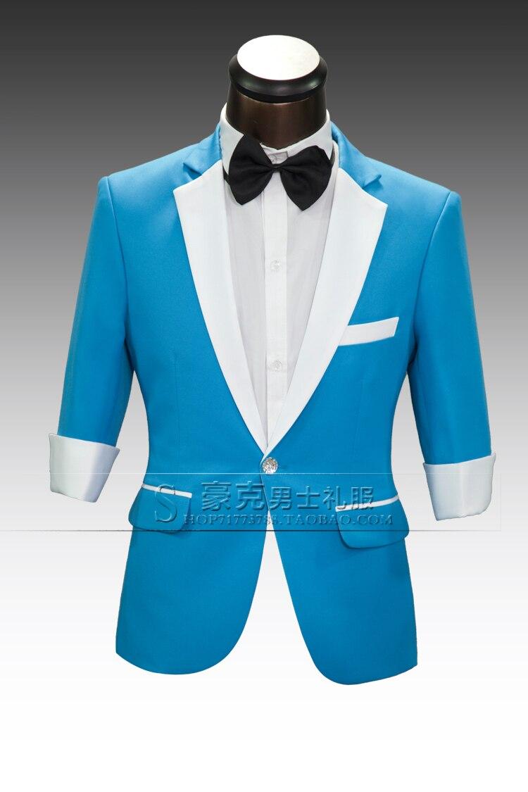 2015 men formal groom wedding suit blue / pink / red / purple slim ...