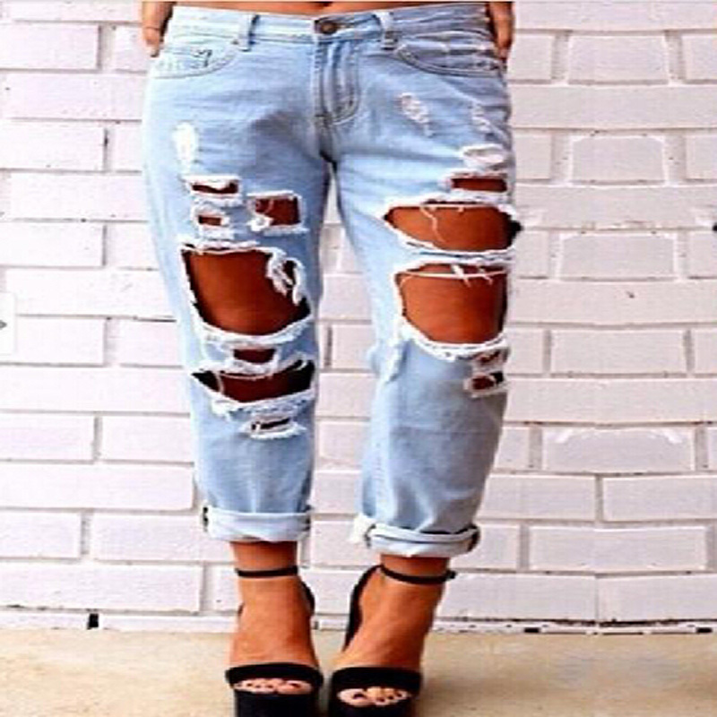 Aliexpress.com : Buy Womens Ladies Skinny Faded Ripped Casual Slim ...