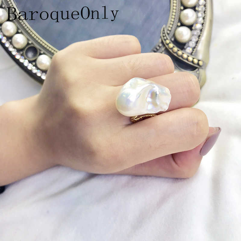 BaroqueOnly 17-25mm Super Big High Luster White Baroque Pearl Wired Special Unique Ring Vintage Style