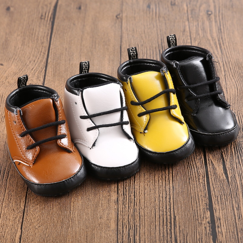 c43d2a23095a 4Color 3Size Newborn Baby Kids Boy Girl Prewalker Shoes Footwear Infant  Toddler PU Leather Soft Bottom Anti slip Boots Booties-in First Walkers  from Mother ...