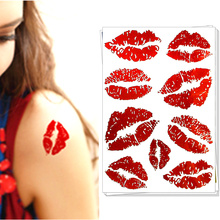 M-Theory Sexy Red Lips Temporary Tattoos Body Art Flash Tatoos Sticker 10x17cm Swimsuit Bikini Dress Makeup