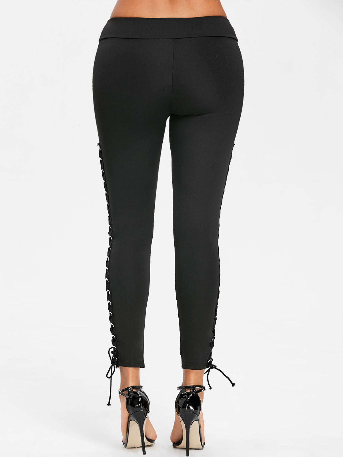 bdf42231837 Gamiss Women Casual Lace Up Leggings With Grommet Fashion Mid ...