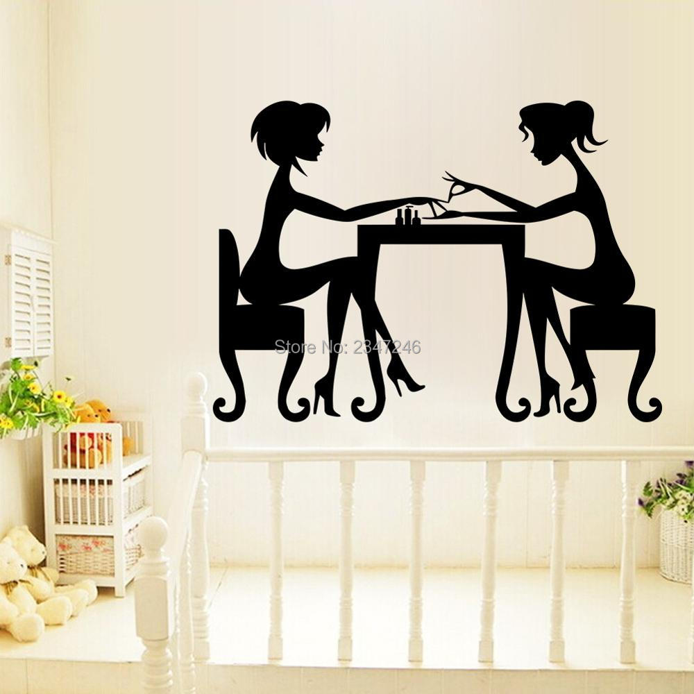 Eyes wall stickers wow modern beauty salon valentine wall decoration - Two Beauty Salon Girls Manicure Wall Decal Sister Funny Time Removable Vinyl Wall Art Mural Sticker