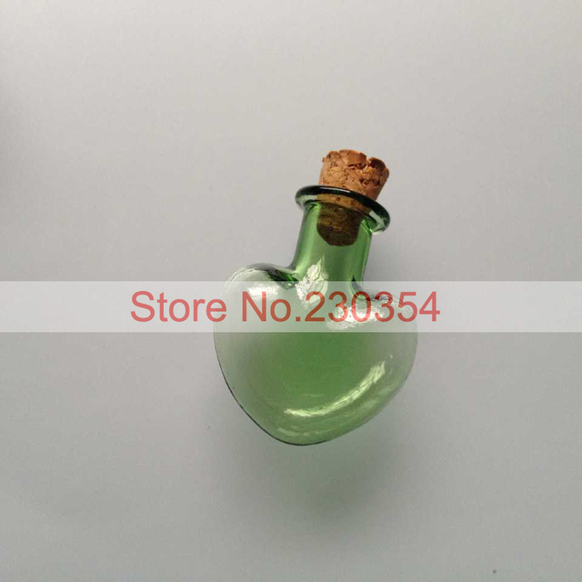 2ml Green Heart Shaped Glass Bottle With Cork Stoppers Handmade
