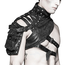 a576adf09 Ao Mi Ke Rong Half Shoulder Leather Armor GOGO Male Rock Chinese Costume  Rave Outfit