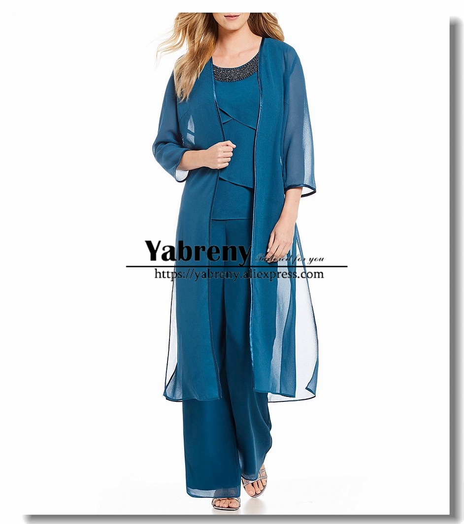 Classic Three Pieces Chiffon Beaded Neck Mother Of The Bride Pants Suit With Long Coat Elastic Waist