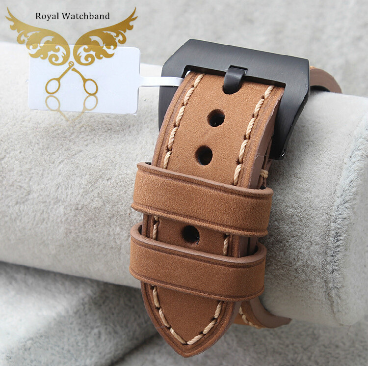 24mm Handmade Watch Strap P-a-n-e-r-a-i Replacement Watchband Italy Genuine Leather - watch band Franchised store
