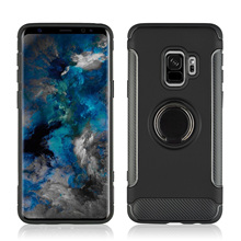 Protect Camera 360° Rotating TPU+PC Ultra Thin Carbon Fiber Ring Bracket Mobile Phone Case For Samsung Galaxy S9 5.8 Anti knock