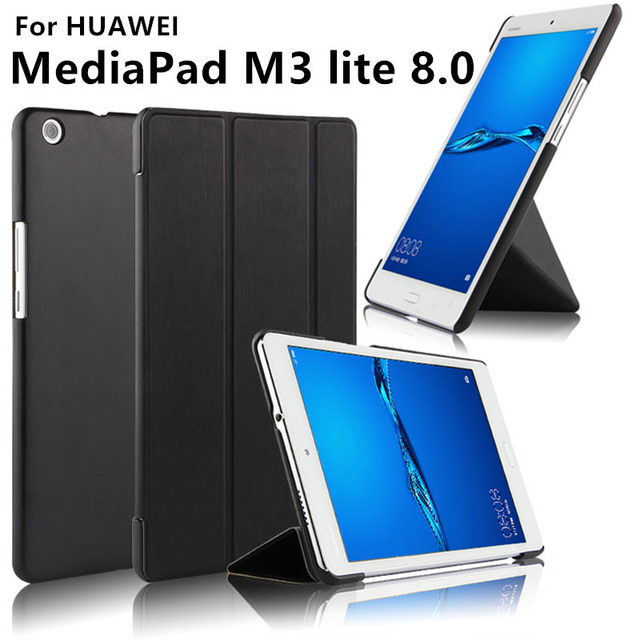 super popular 6ddd8 7cc6c US $8.5 5% OFF|Case For Huawei MediaPad M3 lite Case Cover 8.0 inch M3 lite  8 Leather Protective Protector CPN L09 CPN W09 CPN AL00 Tablet Case-in ...