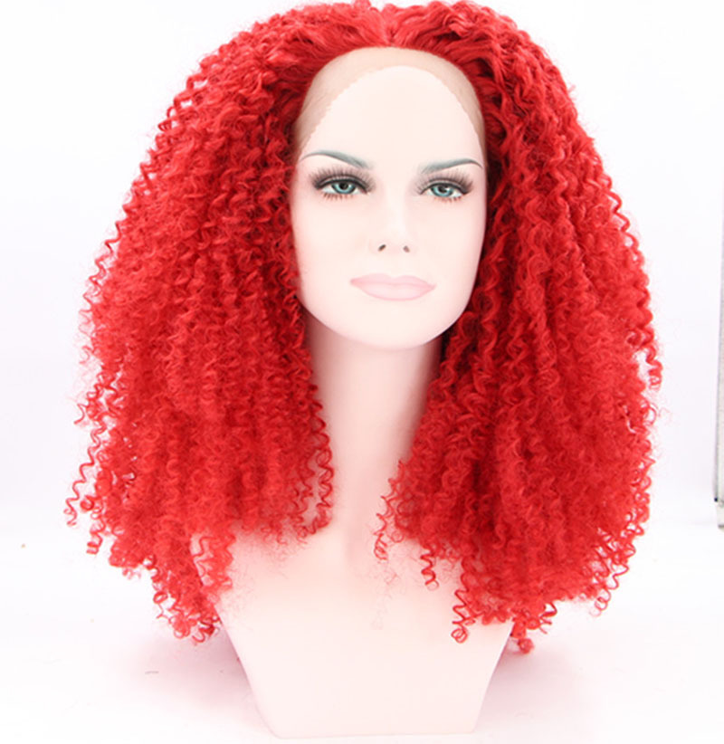 free shipping red hair kinky curly synthetic wig for black women 180%density lace front wigs heat resistant fiber