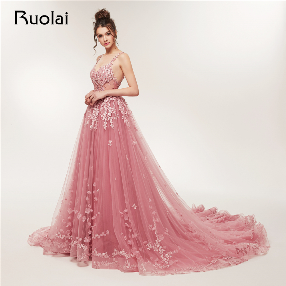 62d6e3325ad Gorgeous 2019 Lace Evening Dresses Long Sweetheart Tulle Applique Beaded  Prom Dress Party Gown Court train Robe de Soiree RE4