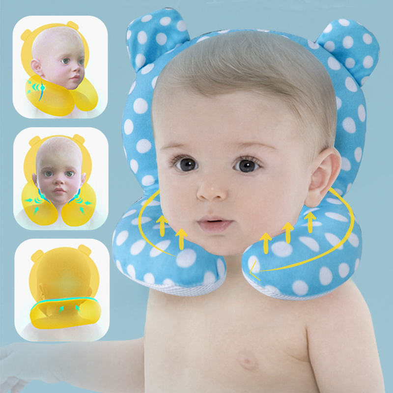 Muslinlife Newborn Baby Sleep Positioner Pillow Head Protection Baby Cartoon Pillow Car Seat Cotton Baby Pillow Travel Dropship