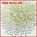 Unhas cor AB e metade do 1000 unidades/pacote 3 MM forma prego decoração de unhas strass DIY NAIL ART