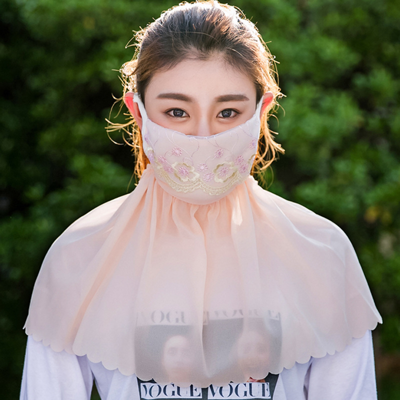 Summer Spring Breathable Women Neck Protection Face Mask Sun Protective Shade Anti-dust Mask Mouth-muffle Mask Flu Face Masks
