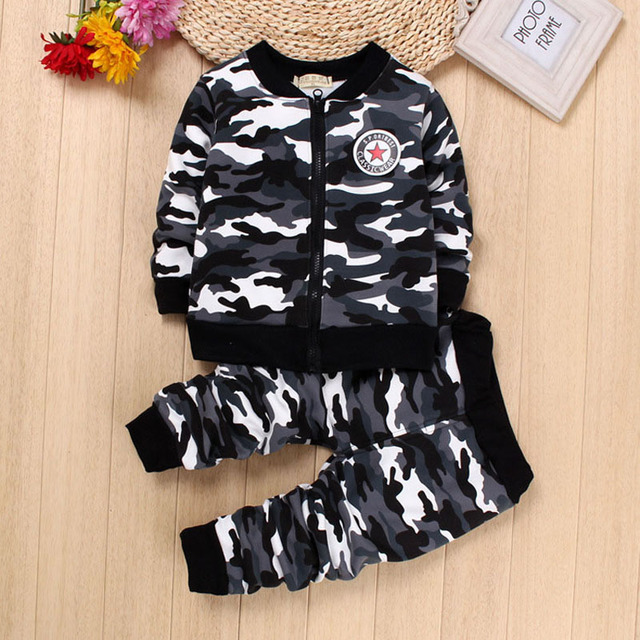 IENENS Winter Kids Baby Boys Girls Warm Camouflage Clothing Sets Coat + Pants Children Boy Girl Military Uniform Suits Outfits