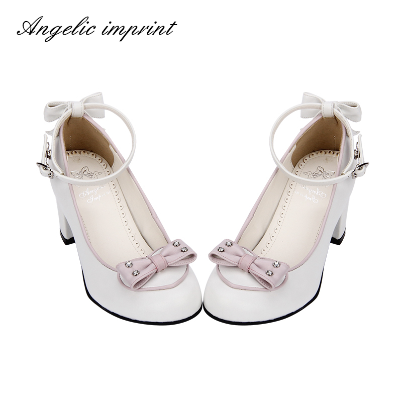 Pu Tacón Grueso Primavera Alto Bombas White Zapatos Elegante Negro 2018 Dulce pink custom Princesa Pl azul Lolita Made Arco White Cosplay And Fiesta pink Cielo De Svx8xfd