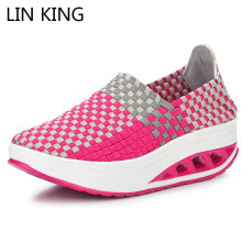 Купить с кэшбэком LIN KING Breathable Women Height Increase Swing Shoes Slip On Wedges Shoes Thick Sole Platform Shoes Footwear Lady Work Loafers