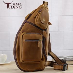 Новая высококачественная винтажная повседневная мужская нагрудная сумка из натуральной воловьей кожи Crazy Horse, большие сумки через плечо дл...