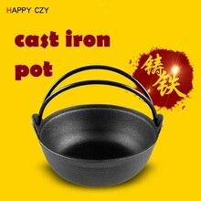 Hohe qualität 25 CM Flachen boden gusseisen altmodische manuelle gusseisen Topf keine beschichtung Suppentopf japanischen wok chinesischen wok