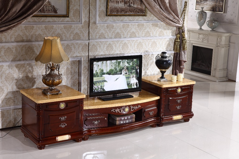 antique wooden TV stand storage drawer marble top made in China living room furniture