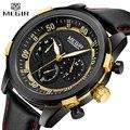 Часы MEGIR мужские  модные  роскошные  кварцевые  с кожаным ремешком  водонепроницаемые  спортивные  военные  наручные часы