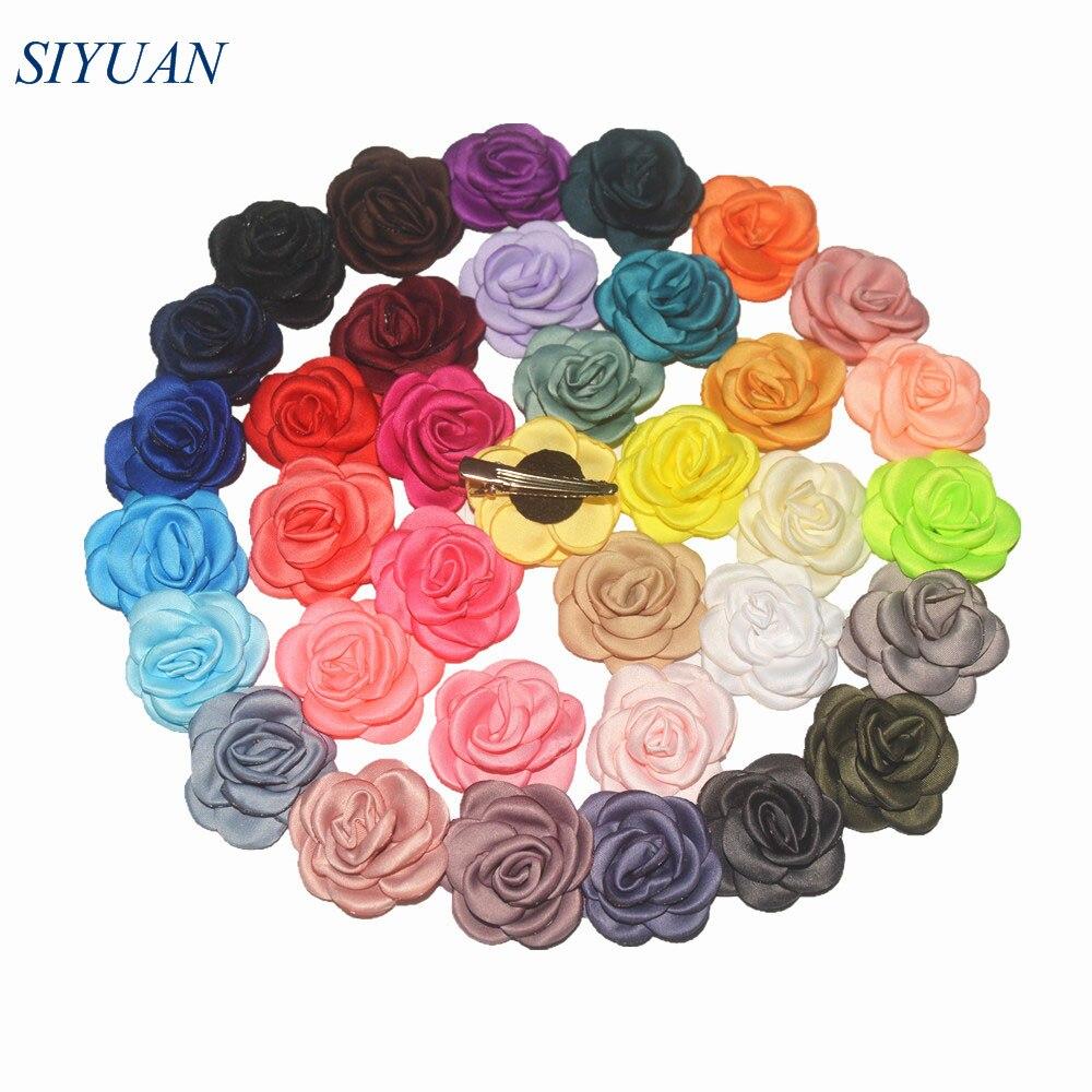 Wholesale 220pcs lot 4 0cm Burnt Fabric Flora Satin Rose Flower Kids Hairclip Headband Wedding Decoration