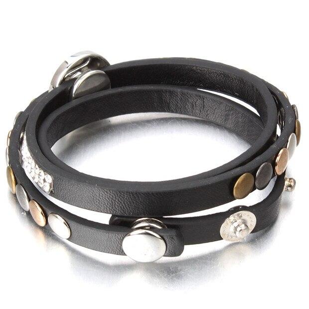 snap pulseira punk rebite pulseira de couro