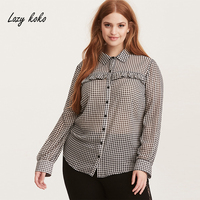 Lazy Koko 2018 New Fashion Plus Size Women Plaid Shirts Ruffles Long Sleeve Female Casual Blouse